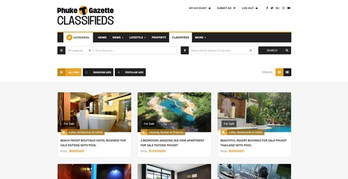 Phuket Gazette Classifieds Homepage